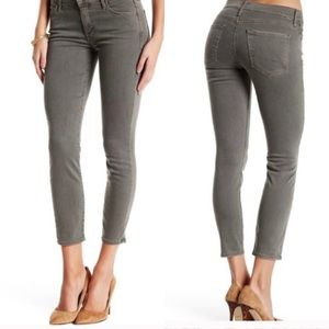 MOTHER The Looker Crop Gray Faded Denim Jeans 27